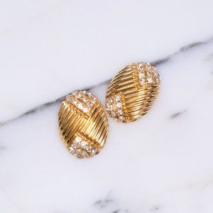 Gold Earrings with Line Design and Pave Rhinestone